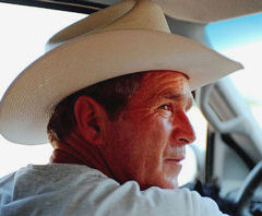 Bush in white cowboy hat