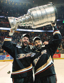 Niedermayer brothers hoist the cup