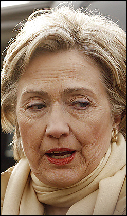 Hillary Clinton lined face