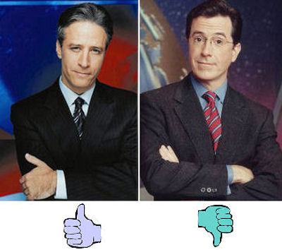 Stewart & Colbert; thumbs up, thumbs down