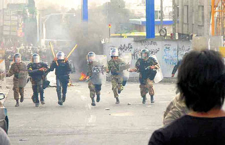 suppression of peaceful demonstrations in Iran
