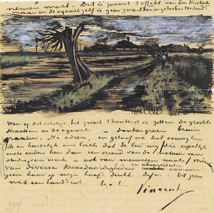 letter from Vincent van Gogh to his brother Theo, with sketch